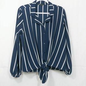 Gibson Navy Blue White Striped Button Down Blouse
